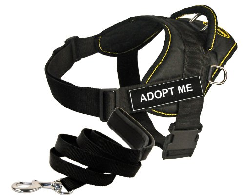 Dean and Tyler Bundle - One DT Fun Works Harness, Adopt Me, Yellow Trim, XXSmall (46cm-56cm) + One Padded Puppy Leash, 183cm Stainless Snap - Black