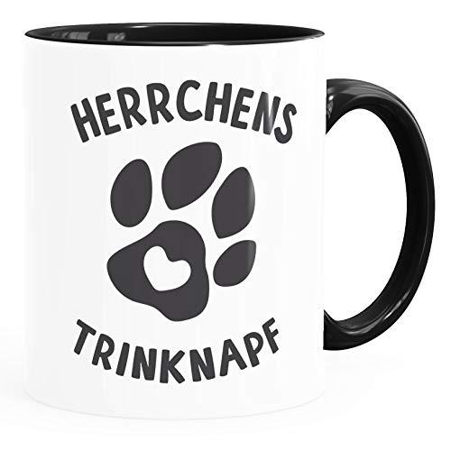 MoonWorks® Kaffee-Tasse Spruch Herrchens Trinknapf Hundepfote-Motiv Becher Bürotasse Tasse Hunde-Liebhaber schwarz unisize