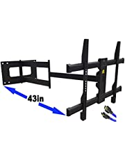 """FORGING MOUNT Long Arm TV Mount, Full Motion Wall Mount Bracket with 43 inch Extension Articulating Arm TV Wall Mount, Fits 42 to 86"""" Flat/Curve TVs, Holds 110lbs,VESA 800x400mm ,Added 8ft HDMI Cable"""