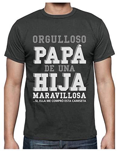 Green Turtle T-Shirts Camiseta para Hombre - Regalos para Hombre, Regalos para Padres. Camisetas Hombre Originales y Divertidas - Orgulloso Papá de una Hija Maravillosa X-Large Gris Antracita