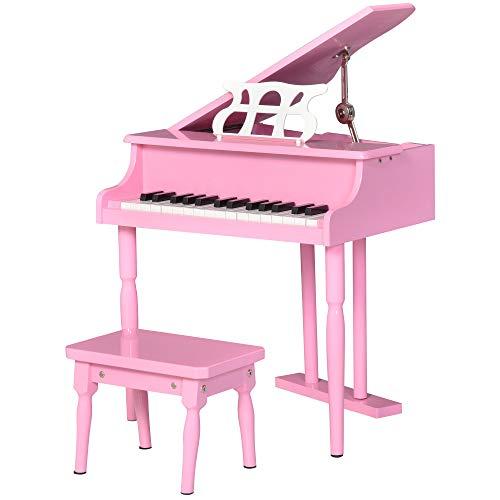 HOMCOM Piano à Queue Enfant en Bois 30 Touches - Tabouret et pupitre inlus - Panneaux de peuplier Rose