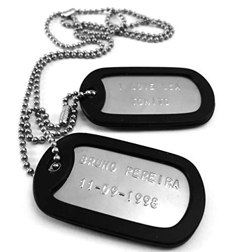 TusPlacas Chapas Militares Personalizadas de Acero INOX. Collar de Chapas Grabadas en Relieve. Colgante Estilo Ejército Americano. Grabado, Cadenas, Gomas y Bolsita de Tela de Regalo (Negro)