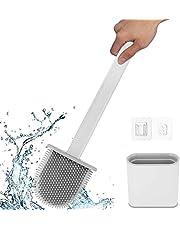 Ayxnzjsjm toiletborstel, siliconen toiletborstel en houder, badkamer toiletborstelhouder set, sneldrogend rek, wand/verticaal badkamer zachte toiletborstel, wit