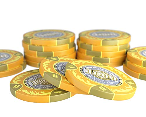 Bullets Playing Cards - 20 Clay Pokerchips Tony für Pokerset - Wert 1000 - 14g - 4cm Durchmesser - Farbe Gelb