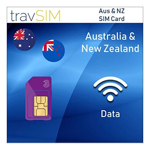 travSIM Australië & Nieuw-Zeeland 12 GB Prepaid Data SIM-Kaart met 12GB Mobiel Internet voor 30 Dagen - Gratis Roamen in Australië en Nieuw-Zeeland Standaard Micro Nano