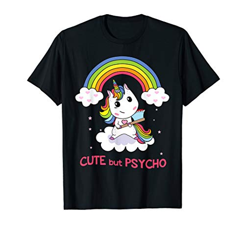 Cute But Psycho Einhorn im Regenbogen mit Axt T-Shirt