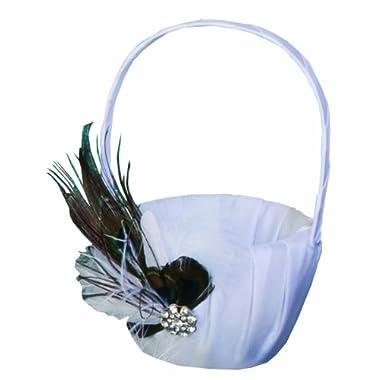 Ivy Lane Design Peacock Collection Flower Girl Basket, White