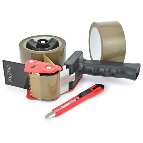 Rapesco 1556 960 Klebeband Handabroller mit 2 braunen Paketklebeband-Rollen & Messer