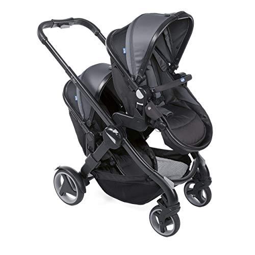 Chicco Fully Twin Kinderwagen, Zwilling, Babyschale und Kinderwagen, Schwarz (Stone)