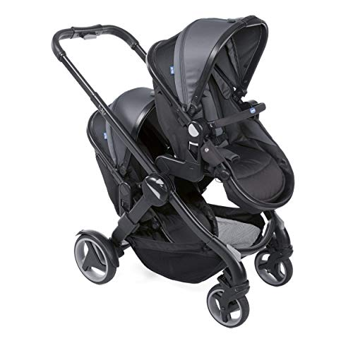 Chicco Fully Twin Zwillingskinderwagen, Babyschale & Buggy transformierbar schwarz (Stone)