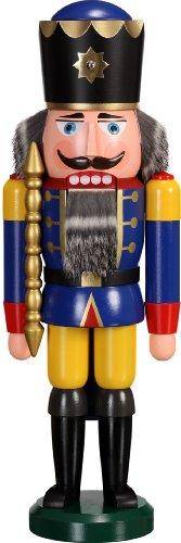 Notenkraker hout Kerstmis originele Seiffen koning blauw 39cm Erzgebirge NIEUW