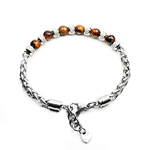 Stainless Steel Bracelet Men Natural Onyx Map Tiger Eye Braslet For Boy Punk Accessories Gift