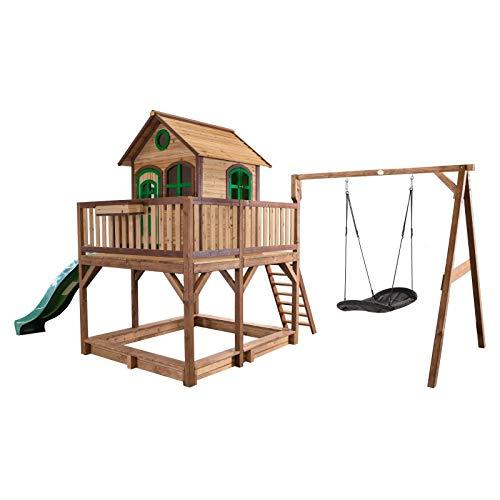 Beauty.Scouts Holzspielhaus Leon VIII 277x613x291cm, braun-grün, Rutsche grün+Sandkasten+Nestschaukel Kinderspielhaus Spielhaus Holzhaus Kinderhaus Gartenhaus