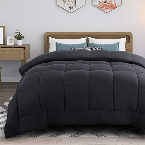 RYONGII All-Season Down Comforter Queen Grey Size Reversible Alternative Quilted Hypoallergenic Hotel Plush Microfiber Fill Insert Angle Label Warm Fluffy Machine Washable 88 x 88 Inches
