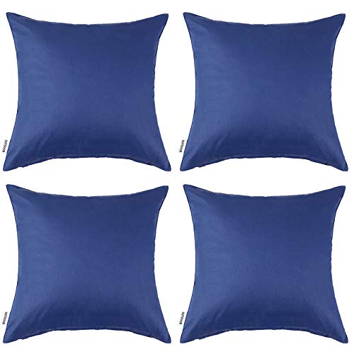 MIULEE Pack of 4 Decorative Outdoor Waterproof Pillow Covers Square Garden Cushion Cases PU Coating Throw Pillow Cover Shell for Patio Tent Park Couch 16x16 Inch Navy Blue