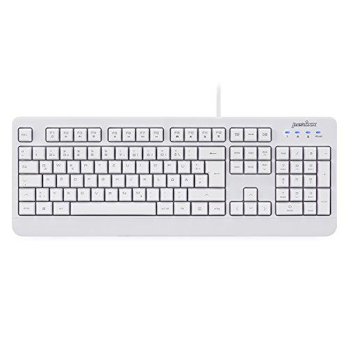 Perixx PERIBOARD-517 wasserdichte Tastatur - IP65 - Vollständig Wasserdicht - QWERTZ Layout - Weiß