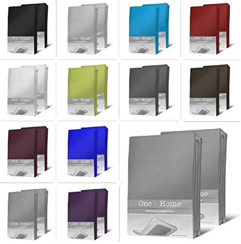one-home 2er Pack Microfaser Spannbettlaken Spannbetttuch Betttuch mit Rundumgummi Set, Farbe:Grau, Maße:90x200 cm - 100x200 cm