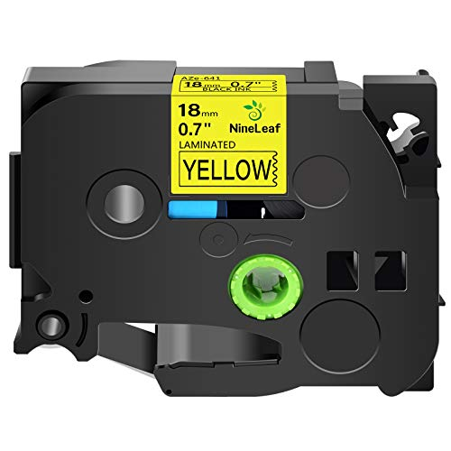 NineLeaf 1PK 3/4 Inch x 26.2 Feet Laminated Tape Compatible for Brother P-Touch Black on Yellow 18mm TZe641 Label Tape Replacement TZ-641 TZe-641 TZ641 Labeller