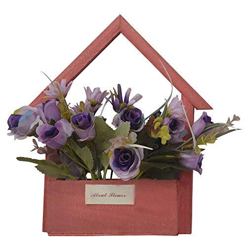 Hogar y Mas Flores Artificiales para Jardín con Macetero Rojo de Madera Natural, Flores Moradas Decorativas Vintage 24x6x16 cm