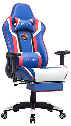 Ficmax Massage Gaming Chair High Back Gamer Chair for E-Sports, Ergonomic Home Office Chair with Footrest Large Size Computer Chair for Gaming, Reclining Game Chair with Headrest and Lumbar Support