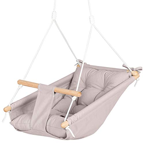 Canvas Baby Swing Hammock by Cateam - Cappuccino - Wooden Hanging Swing Seat Chair for Baby with 5-Point Safety Belt and mounting Hardware. Baby Hammock Chair Birthday Gift.