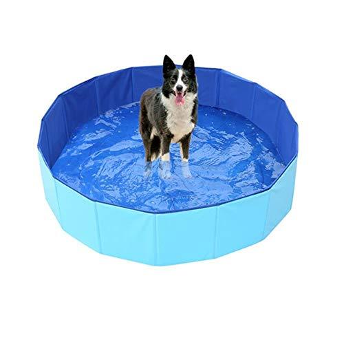 Faltbares Planschbecken für Welpen und kleine Hunde, Indoor Outdoor Badewanne Schwimmbad, stabiler Haustierpool im Hof-Garten, 80 x 20 cm