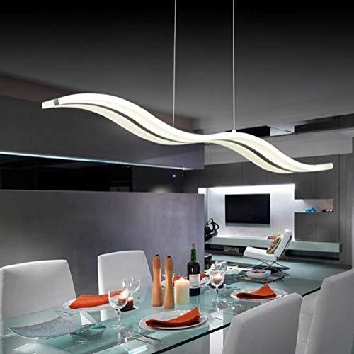 LED Pendelleuchte Dimmbar Moderne Kronleuchter Deckenleuchten Welle LED hängende Leuchte Höhenverstellbar Fernbedienung für Esszimmer Wohnzimmer Schlafzimme