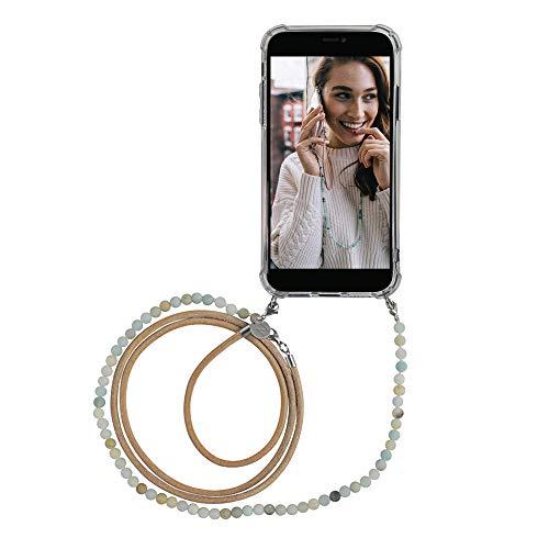 studioNOOKS - Cadena de teléfono Green Vibes - Cadena para iPhone XR para colgar con correa de ante, piedras amazonitas, funda protectora para smartphone, funda, funda, cordón, bolso para hombro.