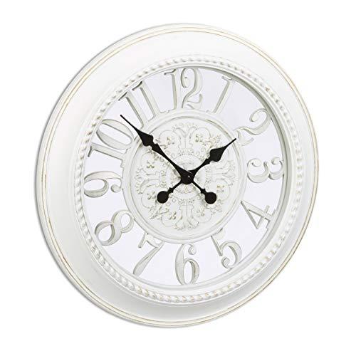 Relaxdays Reloj de Pared Vintage XXL, Plástico, Blanco, 56x56x6 cm