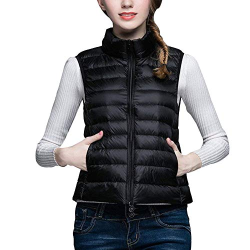 Minghe Women's Stand Collar Packable Ultra Light Down Vest, Black, Size X-Small