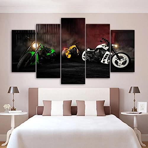 CCAR Cuadros en Lienzo 5 Pieza Arte Moderno de Pared Piloto de Carreras de Motos 5 lienzos Decorativos con impresión, Cuadros Modernos Salon 5 Piezas Enmarcado, 5 Pieza 150X80 Cm