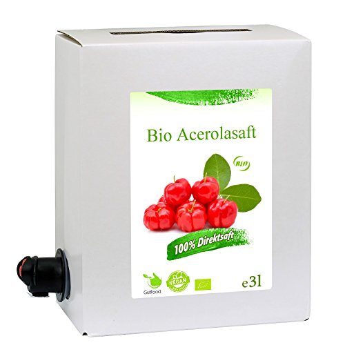 GutFood - 3 Liter Bio Acerolasaft - Bio Acerola Saft in praktischer Bag in Box Packung ( 1 x 3 l Saftbox ) - Muttersaft aus Bio Acerola Erstpressung in Spitzenqualität aus ökologischem Landbau