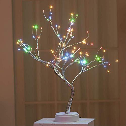 Lámpara LED de árbol perlado con forma de estrella, táctil, para regalo, decoración navideña, luz nocturna, 4 colores, 108 luces de cobre, batería + USB