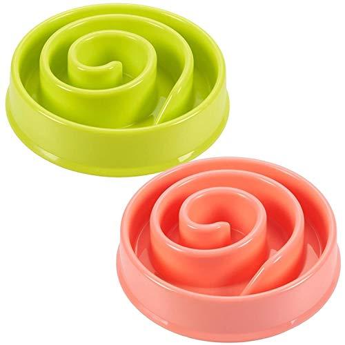 Interactive Dog Bowl, Spiral Slow Feeder Pet Dish (Pink and Green)