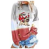 Smonke Damen Mode Sweatshirt Weihnachtsdruck Allmähliche Farbe Langarm Rundhals Shirts Bluse Lose Street Tops Frauen Herbst Winter Pullover
