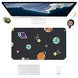 HUBNYO PlanetLeather - Alfombrilla de escritorio para oficina, superficie lisa, fácil de limpiar, resistente al agua, protector de escritorio para oficina, juegos en casa