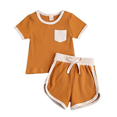 YQYJA Conjunto de ropa de verano para niñas y niños, con estampado sólido, 2 unidades, Jengibre, 18 meses