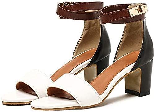 Sandalen Damen Sandalen mit offenen Zehen Hohlriemen Sandalen in überGröße,Weiß,34