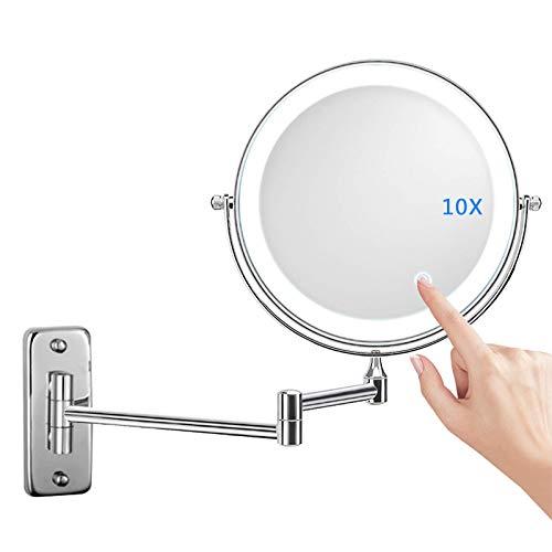 Miroir Grossissant Lumineux Mural x10, Miroirs de Maquillage Miroir Salle De Bain 7 Pouces Miroir Mural Double