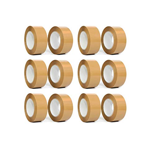 12 Rolls Brown Packaging Tape 48mm x 50m | Heavy Duty Tape for Packing, Moving, Parcel, Shipping, Box