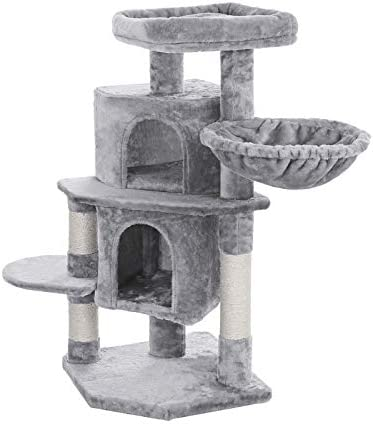 FEANDREA 39 Inch Cat Tree Cat Tower Condo 2 Caves 1 Basket Light Gray UPCT45W product image