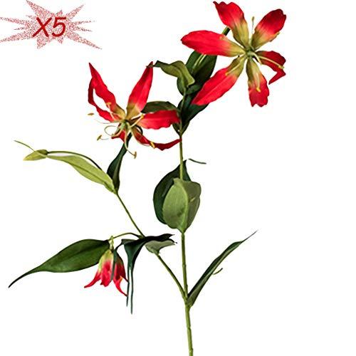 YUESFZ Künstliche Seidenblumen Kunstblumen Für Balkon Exotische Flammenlilie Restaurant Desktop Künstliche Blume Gesetzte Verzierungen Der Wohnzimmerdekoration Mit Blumen (Color : Red*5, Size : 80CM)