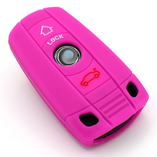 Finest-Folia Coque de clé BB 3 Boutons en Silicone pour clé de Voiture Rose Fluorescent