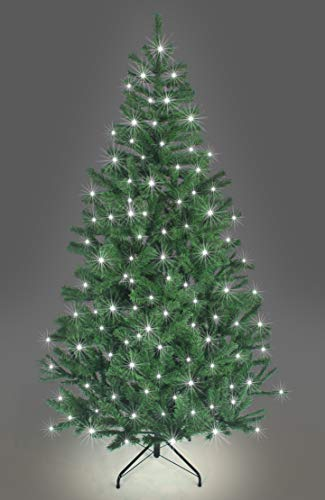 SHATCHI Pre-Lit Alaskan Pine Artificial Christmas Tree with LEDs Metal Stand Tips Xmas Holiday Home Decorations, 4Ft-12ft Black, Green W/Cool White, 8Ft/240CM