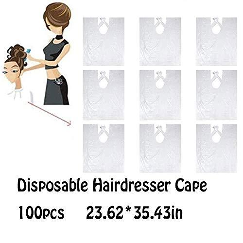 Hair Clippers 100 Pièces à Usage Unique Coiffeur Cape Tablier imperméable Coiffure Coupe de Cheveux Capes Tablier Coiffure Tissu Transparent for Adultes Enfants 23,62 * 35.43in