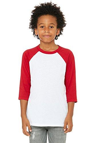 Bella + Canvas Toddler 3/4-Sleeve Baseball T-Shirt 3T WHITE/ RED