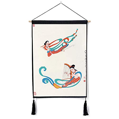 YUANOMWJ Hanging Poster Wall,Ancient Chinese Flying Figures from Dunhuang,Oil Canvas Paintings Portable for Living Room Bedroom Home Decoration with Hanger Scroll Frame (18X26Inch)