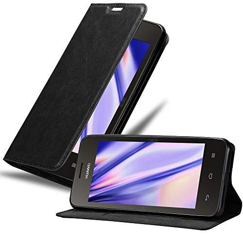 Cadorabo Hülle für Huawei Y330 in Nacht SCHWARZ - Handyhülle mit Magnetverschluss, Standfunktion & Kartenfach - Hülle Cover Schutzhülle Etui Tasche Book Klapp Style