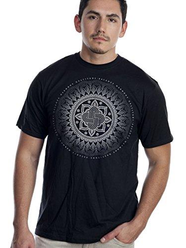 Super Buddha Men's'Balance Mandala' Organic Graphic Tee, Black, Large