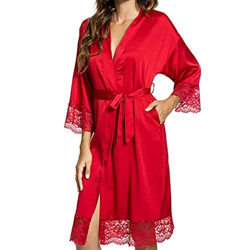 UMIPUBO Chemise de Nuit Kimono Peignoir en Satin pour Femme Chemise de Nuit Sexy en Dentelle à col en V avec Poches (Rouge,Medium)
